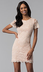 Image of rose gold embroidered short-sleeve party dress. Style: VE-628-214917 Front Image