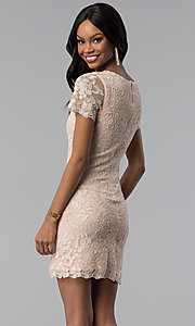 Image of rose gold embroidered short-sleeve party dress. Style: VE-628-214917 Back Image