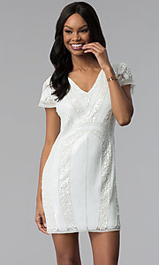 Image of short white sequin v-neck graduation party dress. Style: VE-618-214939 Front Image