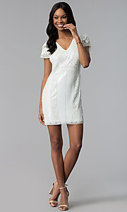 Image of short white sequin v-neck graduation party dress. Style: VE-618-214939 Detail Image 3