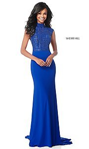 Image of long mock-neck prom dress with beaded bodice. Style: SH-51876 Detail Image 3