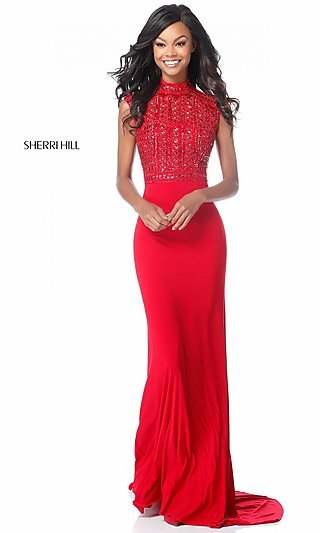Long Mock-Neck Prom Dress with Beaded Bodice