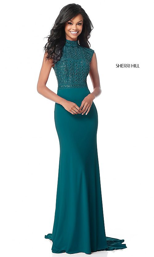 Image of long mock-neck prom dress with beaded bodice. Style: SH-51876 Detail Image 1