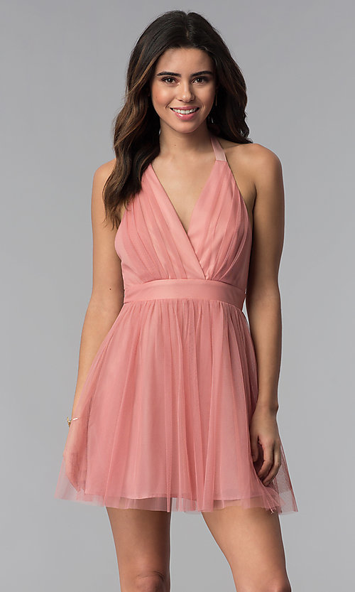Image of short v-neck open-back graduation party dress. Style: LUX-LD4383 Front Image