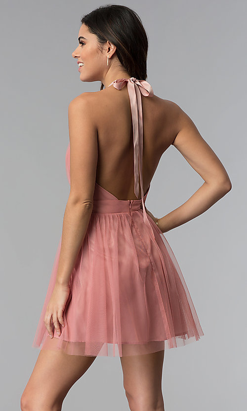 Image of short v-neck open-back graduation party dress. Style: LUX-LD4383 Back Image