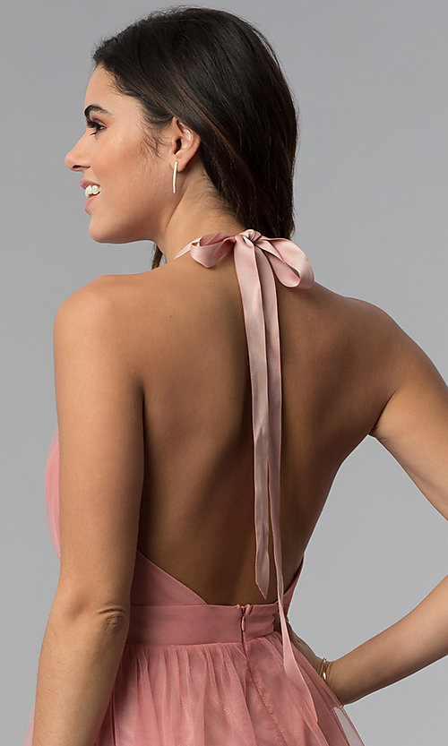 Image of short v-neck open-back graduation party dress. Style: LUX-LD4383 Detail Image 2