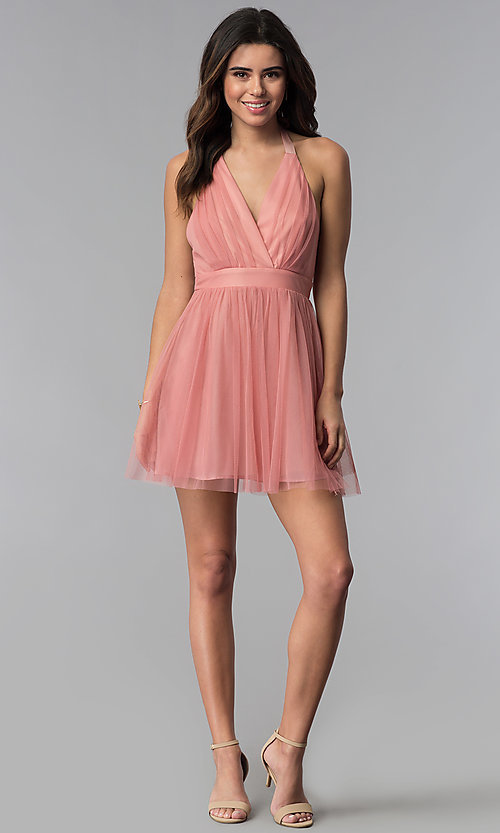 Image of short v-neck open-back graduation party dress. Style: LUX-LD4383 Detail Image 3