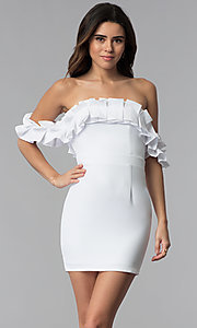 Image of off-the-shoulder short spandex white party dress. Style: LUX-LD4728 Front Image