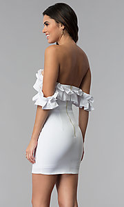 Image of off-the-shoulder short spandex white party dress. Style: LUX-LD4728 Back Image