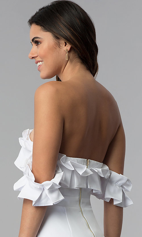 Image of off-the-shoulder short spandex white party dress. Style: LUX-LD4728 Detail Image 2