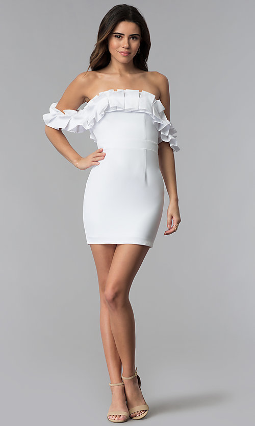 Image of off-the-shoulder short spandex white party dress. Style: LUX-LD4728 Detail Image 3