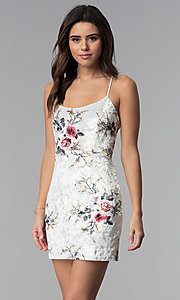 Image of short floral-print velvet white party dress. Style: LUX-LD4564 Front Image