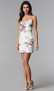 Image of short floral-print velvet white party dress. Style: LUX-LD4564 Detail Image 3