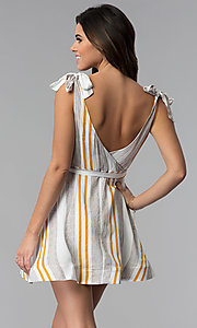 Image of short striped v-neck casual party dress. Style: LUX-LD4690 Back Image