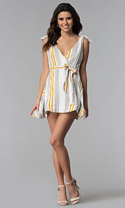Image of short striped v-neck casual party dress. Style: LUX-LD4690 Detail Image 3