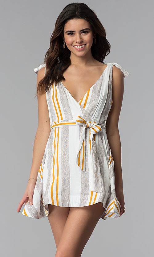 Image of short striped v-neck casual party dress. Style: LUX-LD4690 Front Image