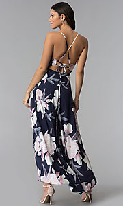 Image of high-low v-neck floral-print party dress. Style: LUX-LD4643 Back Image