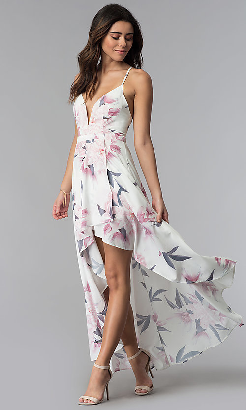 Image of high-low v-neck floral-print party dress. Style: LUX-LD4643 Detail Image 3