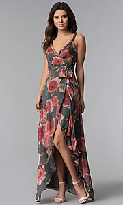 Image of floral-print high-low wrap wedding-guest dress. Style: LUX-LD4585 Front Image