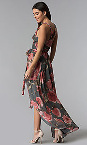Image of floral-print high-low wrap wedding-guest dress. Style: LUX-LD4585 Back Image