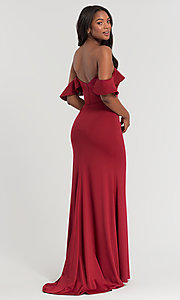 Image of off-the-shoulder long Kleinfeld bridesmaid dress. Style: KL-200060 Back Image
