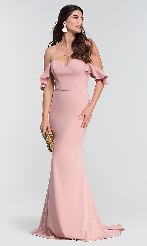 Image of off-the-shoulder long Kleinfeld bridesmaid dress. Style: KL-200060 Front Image