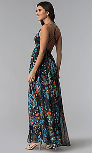 Image of long a-line v-neck floral-print wedding-guest dress. Style: LUX-LD4230 Back Image