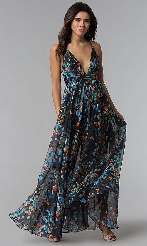 Image of long a-line v-neck floral-print wedding-guest dress. Style: LUX-LD4230 Front Image
