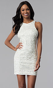 Image of white sleeveless sequin-embroidered party dress. Style: VE-618-210995 Front Image