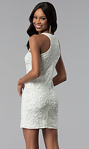 Image of white sleeveless sequin-embroidered party dress. Style: VE-618-210995 Back Image