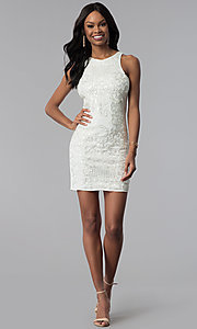 Image of white sleeveless sequin-embroidered party dress. Style: VE-618-210995 Detail Image 3