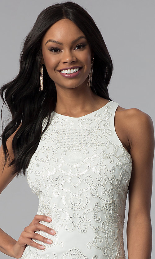 Image of white sleeveless sequin-embroidered party dress. Style: VE-618-210995 Detail Image 1