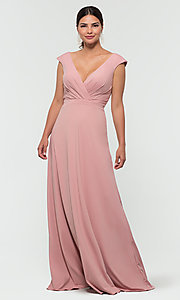 Image of v-neck cap-sleeve Kleinfeld bridesmaid dresses. Style: KL-200061 Detail Image 8