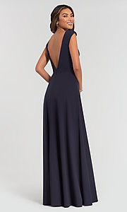 Image of v-neck cap-sleeve Kleinfeld bridesmaid dresses. Style: KL-200061 Back Image