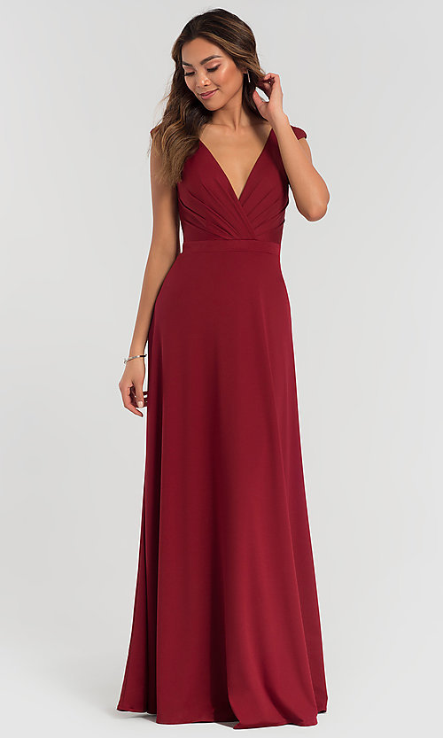 Image of v-neck cap-sleeve Kleinfeld bridesmaid dresses. Style: KL-200061 Detail Image 1
