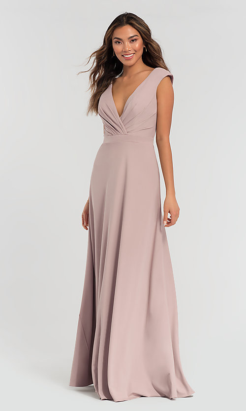 Image of v-neck cap-sleeve Kleinfeld bridesmaid dresses. Style: KL-200061 Front Image