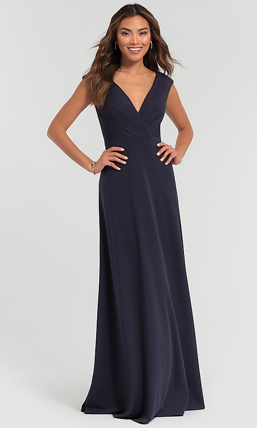 Image of v-neck cap-sleeve Kleinfeld bridesmaid dresses. Style: KL-200061 Detail Image 3