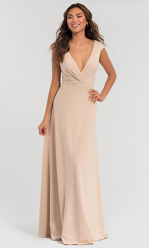 Image of v-neck cap-sleeve Kleinfeld bridesmaid dresses. Style: KL-200061 Detail Image 5