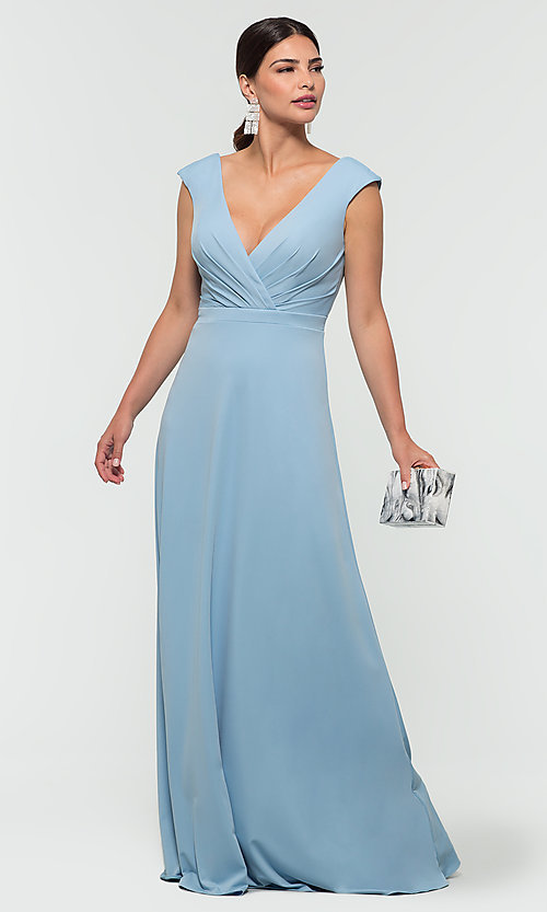 Image of v-neck cap-sleeve Kleinfeld bridesmaid dresses. Style: KL-200061 Detail Image 7