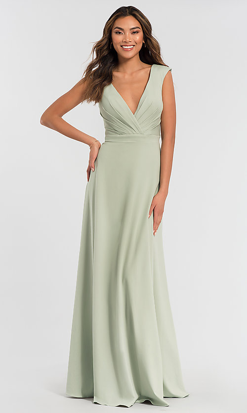 Image of v-neck cap-sleeve Kleinfeld bridesmaid dresses. Style: KL-200061 Detail Image 6