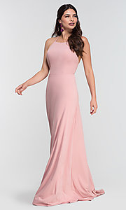 Image of strappy open-back long jersey bridesmaid dress. Style: KL-200062 Detail Image 7