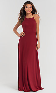 Image of strappy open-back long jersey bridesmaid dress. Style: KL-200062 Detail Image 1