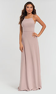 Image of strappy open-back long jersey bridesmaid dress. Style: KL-200062 Detail Image 4