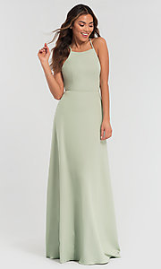 Image of strappy open-back long jersey bridesmaid dress. Style: KL-200062 Detail Image 6