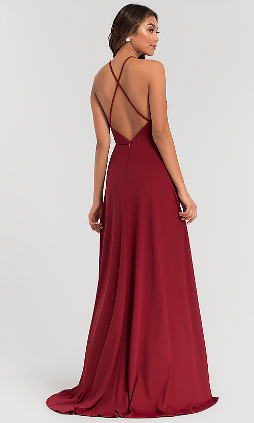 Image of strappy open-back long jersey bridesmaid dress. Style: KL-200062 Back Image