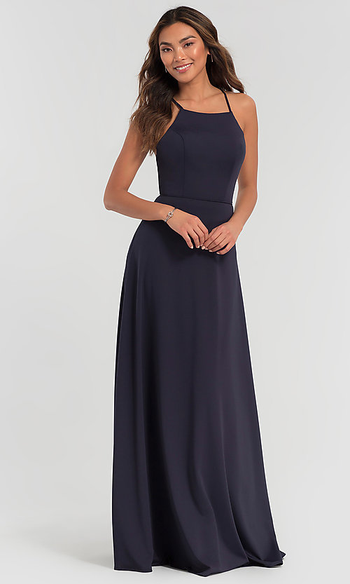 Image of strappy open-back long jersey bridesmaid dress. Style: KL-200062 Front Image