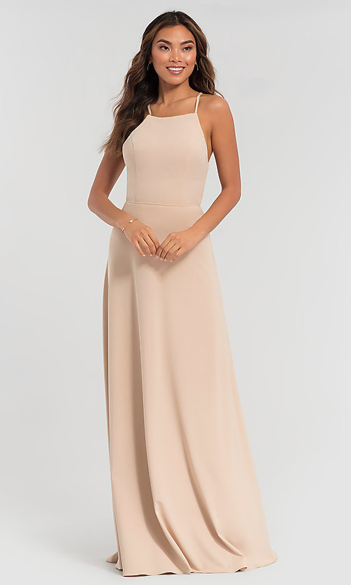 Image of strappy open-back long jersey bridesmaid dress. Style: KL-200062 Detail Image 3