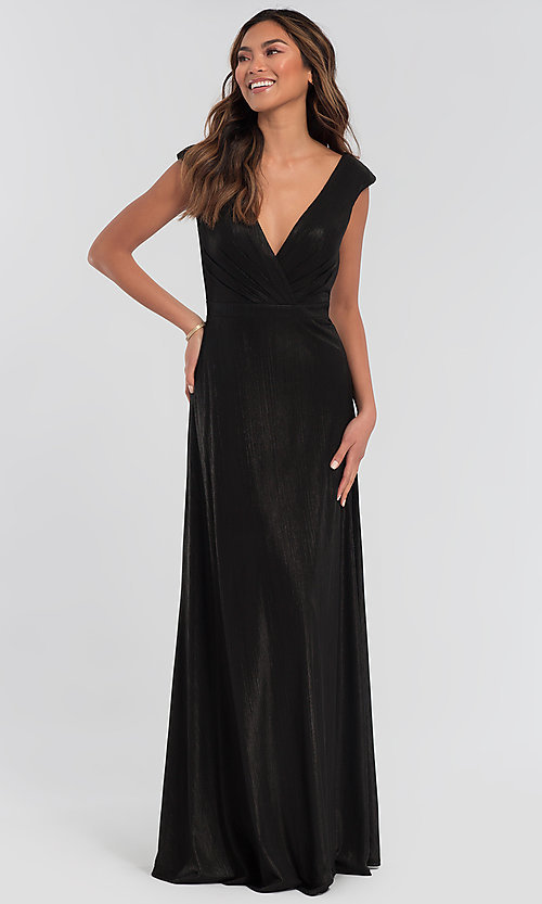 Image of long bridesmaid dress in metallic jersey. Style: KL-200064 Front Image