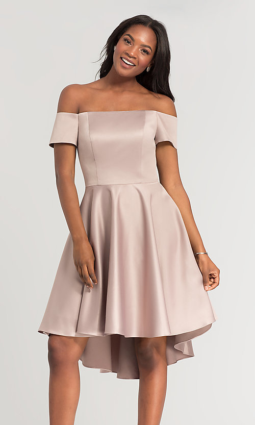 Image of off-shoulder short bridesmaid dress by Kleinfeld. Style: KL-200048 Detail Image 2