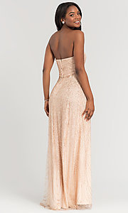Image of long glitter strapless Kleinfeld bridesmaid dress. Style: KL-200069 Back Image